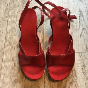 Nine West Red Patent Cork Platforms